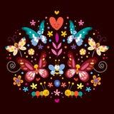 Πεταλούδες, διανυσματική απεικόνιση φύσης λουλουδιών Στοκ Εικόνα