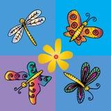 Πεταλούδες και λιβελλούλες διανυσματική απεικόνιση