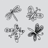 Πεταλούδες και λιβελλούλες ελεύθερη απεικόνιση δικαιώματος