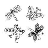 Πεταλούδες και λιβελλούλες απεικόνιση αποθεμάτων