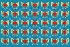 Πεταλούδες και καρδιές Στοκ Φωτογραφίες