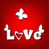 Πεταλούδες καρτών αγάπης βαλεντίνων  Στοκ Εικόνες