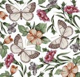 Πεταλούδες. Λουλούδια. Όμορφο υπόβαθρο. Στοκ Φωτογραφία