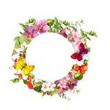 Πεταλούδες, λουλούδια Floral στεφάνι κύκλων watercolor Στοκ Φωτογραφία