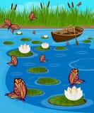 Πεταλούδες που πετούν πέρα από τη λίμνη μεταξύ των ανθίζοντας κρίνων Στοκ Εικόνα
