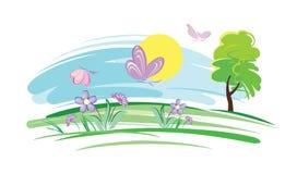 Πεταλούδες σε ένα λιβάδι διανυσματική απεικόνιση