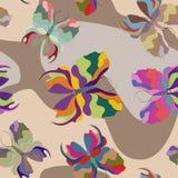 Πεταλούδες των διαφορετικών χρωμάτων σε ένα επίπεδο διάνυσμα ύφους Στοκ Φωτογραφίες