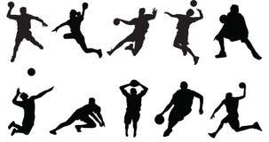 Πετοσφαίριση καλαθοσφαίρισης αθλητικών σκιαγραφιών