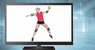 πετοσφαίριση χάντμπολ στην τηλεόραση Στοκ εικόνες με δικαίωμα ελεύθερης χρήσης