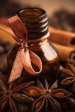Πετρέλαιο αρώματος καφέ μπουκαλιών με τα αρωματικά φασόλια καφέ Στοκ φωτογραφία με δικαίωμα ελεύθερης χρήσης