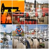πετρέλαιο βιομηχανίας φ&upsilo βιομηχανικός Κατασκευαστικό κολάζ φωτογραφιών Στοκ Φωτογραφίες
