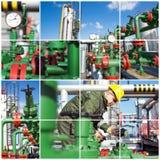 πετρέλαιο βιομηχανίας φ&upsilo βιομηχανικός Κατασκευαστικό κολάζ φωτογραφιών Στοκ Εικόνες