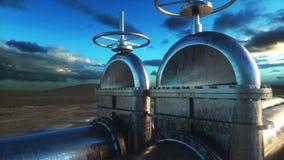 Πετρέλαιο, βαλβίδα αερίου Σωλήνωση στην έρημο Έννοια πετρελαίου τρισδιάστατη απόδοση Στοκ Φωτογραφίες