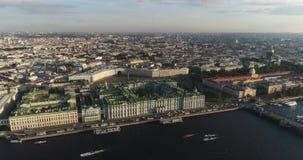 Πετρούπολη Άγιος Ρωσία Εναέρια άποψη του τετραγώνου παλατιών απόθεμα βίντεο