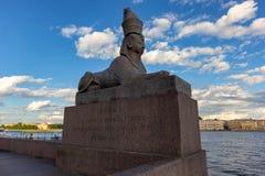 Πετρούπολη, Ρωσία - τον Αύγουστο του 2015 Sphinx μπροστά από το νεφελώδη ουρανό στοκ εικόνα με δικαίωμα ελεύθερης χρήσης