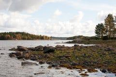 Πετρώδες βόρειο τοπίο ακροθαλασσιών με το δάσος φθινοπώρου στοκ φωτογραφία με δικαίωμα ελεύθερης χρήσης