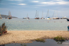Πετρώδης παραλία Bodrum Στις δεμένες ορίζοντας βάρκες και τη ναυσιπλοΐα τουριστών Στοκ εικόνα με δικαίωμα ελεύθερης χρήσης