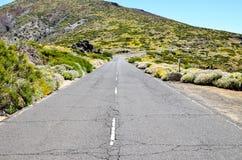 Πετρώδης δρόμος στην ηφαιστειακή έρημο Στοκ Εικόνες