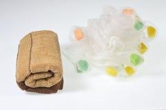 Πετσέτες και ριπή λουτρών Στοκ φωτογραφία με δικαίωμα ελεύθερης χρήσης