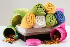 πετσέτες λουτρών Στοκ Φωτογραφίες