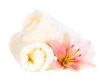 Πετσέτες με το λουλούδι Στοκ φωτογραφία με δικαίωμα ελεύθερης χρήσης