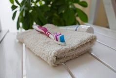 πετσέτες οδοντοβουρτ&sig Στοκ Εικόνα