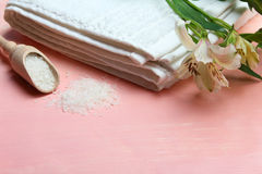 πετσέτες πετρών χαβιαριών σωμάτων λουτρών εξαρτημάτων gem milk soap spa στοκ εικόνα με δικαίωμα ελεύθερης χρήσης