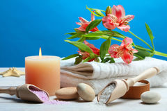 πετσέτες πετρών χαβιαριών σωμάτων λουτρών εξαρτημάτων gem milk soap spa στοκ φωτογραφία με δικαίωμα ελεύθερης χρήσης