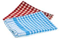 Κόκκινες και μπλε ελεγμένες πετσέτες στοκ φωτογραφία με δικαίωμα ελεύθερης χρήσης