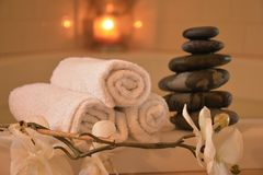 πετσέτες του Μπαλί αρώματος relaxation spa στοκ φωτογραφία με δικαίωμα ελεύθερης χρήσης