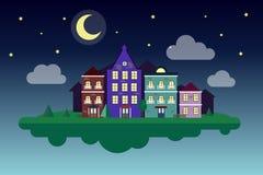 Πετώντας άνετη πόλη τρισδιάστατη νύχτα φεγγαριών απεικόνισης Μικρή πόλη νύχτας Νύχτα αστροφεγγιάς Στοκ Εικόνες