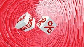 Πετώντας άσπροι κύβοι με την πώληση και τα τοις εκατό επιγραφής απεικόνιση αποθεμάτων