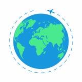 Πετώντας αεροπλάνο σε όλο τον κόσμο Το αεροπλάνο πορειών, διαδρομή αεροπλάνων Εικονίδιο πλανήτη Γη Στοκ Εικόνα