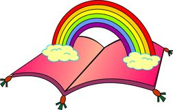 Πετώντας βιβλίο με το ουράνιο τόξο Στοκ εικόνα με δικαίωμα ελεύθερης χρήσης