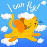 Πετώντας γάτα κινούμενων σχεδίων με τα φτερά Στοκ Φωτογραφίες