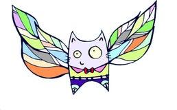 Πετώντας γάτα με τα φτερά Στοκ Εικόνες