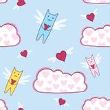 Πετώντας γάτες με την αγάπη της καρδιάς, άνευ ραφής Στοκ Εικόνα