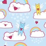 Πετώντας γάτες με την αγάπη των καρδιών και του ουράνιου τόξου Στοκ Εικόνα