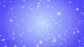 Πετώντας διακοσμητικά snowflakes Χειμώνας, Χριστούγεννα, νέο έτος Μπλε καλλιτεχνικό υπόβαθρο τρισδιάστατη ζωτικότητα απόθεμα βίντεο