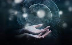 Πετώντας διεπαφή γήινων δικτύων που ενεργοποιείται από το τρισδιάστατο rende επιχειρηματιών Στοκ εικόνα με δικαίωμα ελεύθερης χρήσης