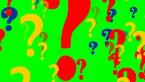 Πετώντας ερωτηματικό στην πράσινη οθόνη απόθεμα βίντεο