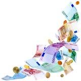 Πετώντας ευρο- χρήματα Στοκ φωτογραφία με δικαίωμα ελεύθερης χρήσης