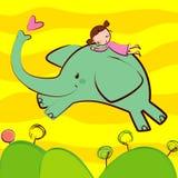 Πετώντας ελέφαντας οδήγησης κοριτσιών Στοκ Εικόνα