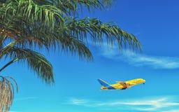 Πετώντας κίτρινο αεροπλάνο Στοκ εικόνα με δικαίωμα ελεύθερης χρήσης