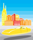 Πετώντας κίτρινο αυτοκίνητο απεικόνιση αποθεμάτων