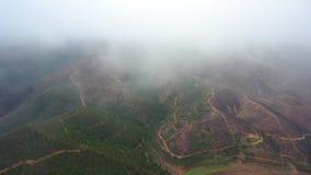 _ Πετώντας κηφήνας στην ομίχλη και σύννεφα πέρα από τους λόφους σε Monchique Πορτογαλία απόθεμα βίντεο