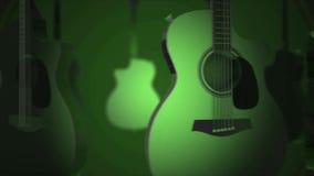 Πετώντας κιθάρες - κλασικές, λαϊκός, βάρδος, όργανο μουσικής ροκ Ρεαλιστική τρισδιάστατη ζωτικότητα στο πράσινο υπόβαθρο Κιθάρα απόθεμα βίντεο