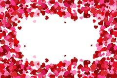 Πετώντας κομφετί καρδιών, υπόβαθρο ημέρας βαλεντίνων, ρομαντική απλή σύσταση αγάπης καρδιές πλαισίων καρτών ημέρας σχεδίου dreams διανυσματική απεικόνιση