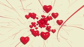 Πετώντας κόκκινες καρδιές στο λευκό φιλμ μικρού μήκους