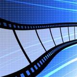 Πετώντας λουρίδα ταινιών με την ανασκόπηση ψηφίων Στοκ Φωτογραφία